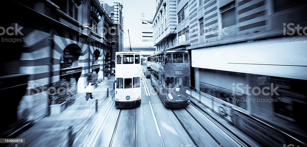 Dynamic city with trams on the road