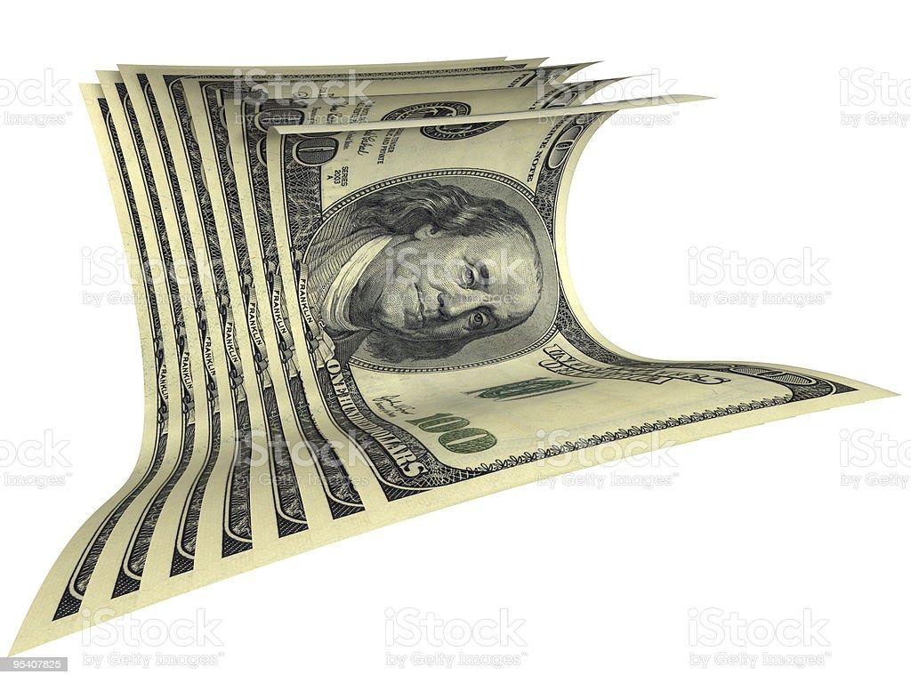 Dynamische Zusammensetzung verschiedene-Dollar-Banknoten isoliert, Lizenzfreies stock-foto