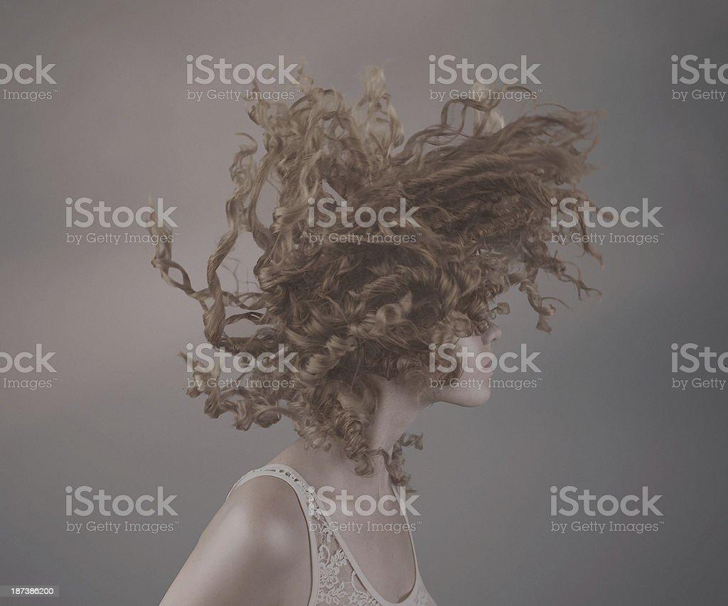 dynamic curly hair stock photo