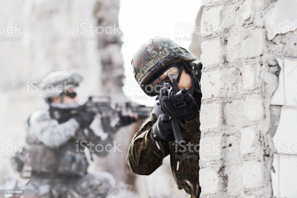 Dynamic defense force stock photo