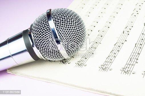 istock dynamic microphone on music sheet 1131352330