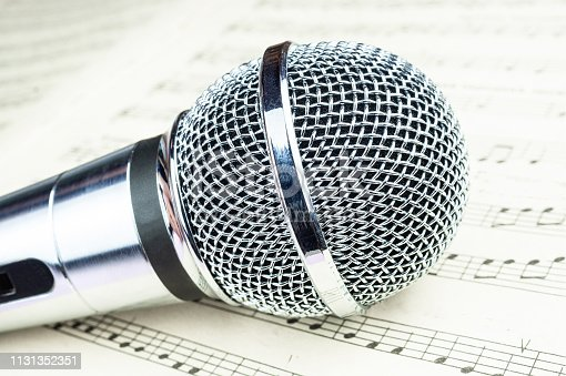 478117515 istock photo dynamic microphone on music sheet 1131352351