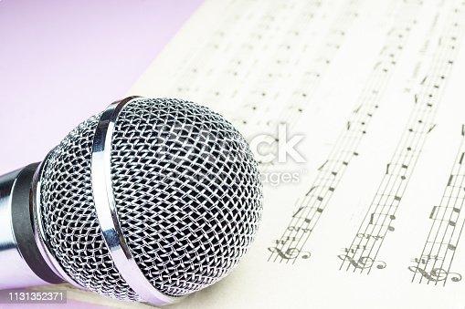 istock dynamic microphone on music sheet 1131352371