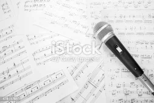 istock dynamic microphone on music sheet 478117515