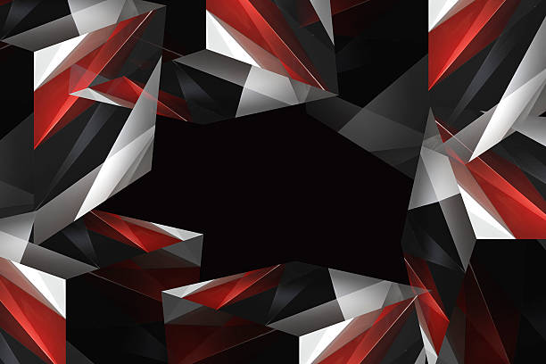 Dynamic multicolor polyhedron composition comprising several parts of cubes Digitally rendered dynamic polyhedron composition comprising several parts of cubes in red, gray, black and white colors. Abstract contemporary graphic design or futuristic background. arbitrary stock pictures, royalty-free photos & images