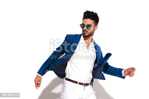 istock dynamic side picture of a smart casual man  walking 907934274