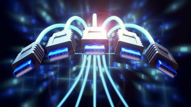 dynamische usb kabel nahaufnahme - usb kabel stock-fotos und bilder