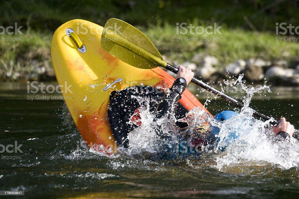 dynamic white water kayak action stock photo