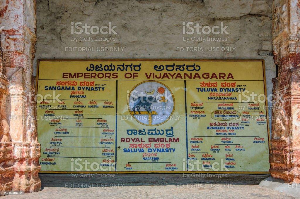 Dynasties ruling the Empire of Vijayanagar stock photo