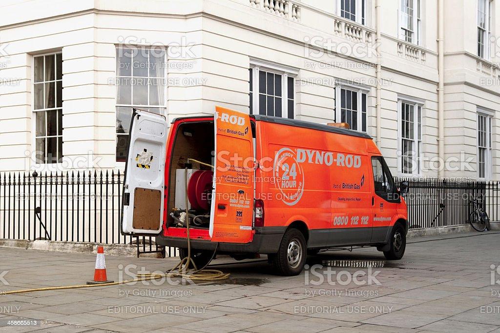 Dyno-Rod van in a London street royalty-free stock photo
