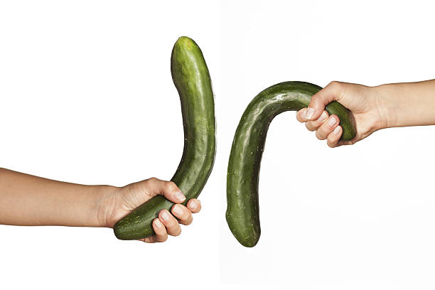 dysfunction of the penis - illustration with cucumber - cucumber stock photos and pictures