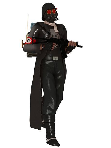 Dystopian trooper in gas mask stock photo