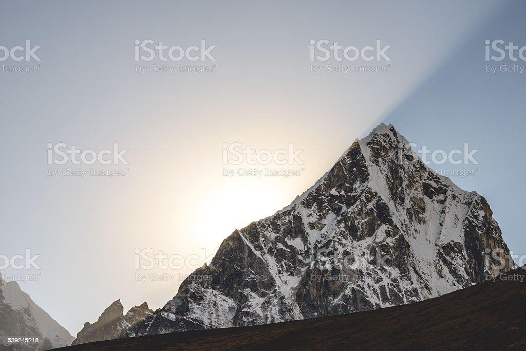 Dzongla sun rays stock photo