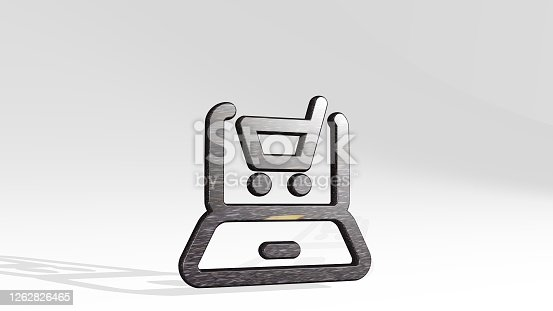 istock e commerce cart laptop casting shadow with two lights. 3D illustration of metallic sculpture over a white background with mild texture. letter and design 1262826465