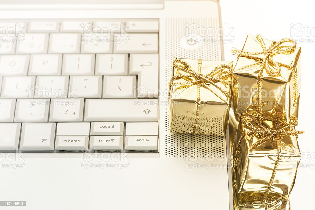 e commerce gift and laptop royalty-free stock photo