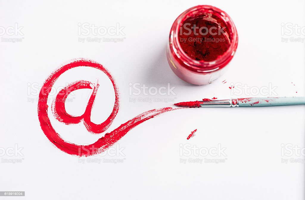 e mail sign drawing with red paint - Photo