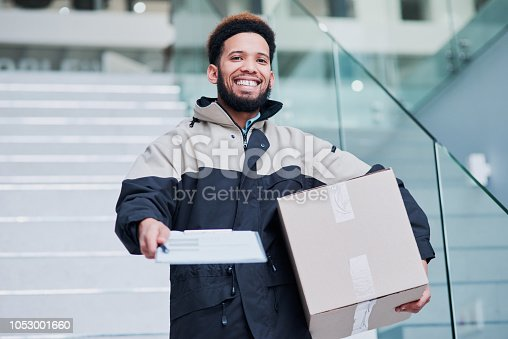 1053001624 istock photo Eager to deliver your package on time 1053001660