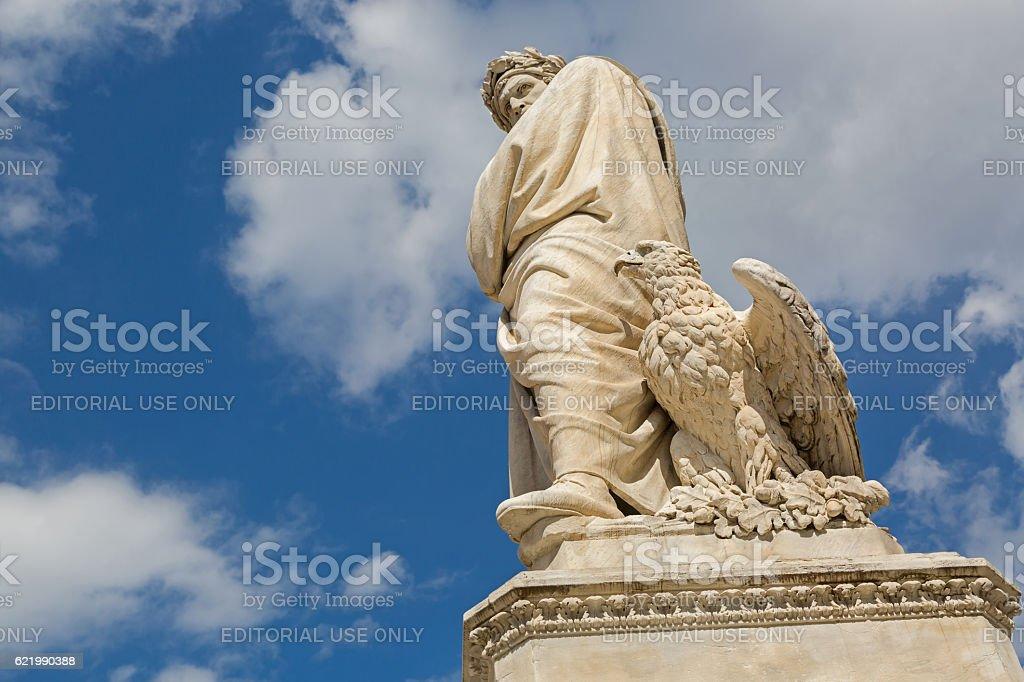 Eagle and statue of Durante degli Alighieri (Dante), Florence stock photo