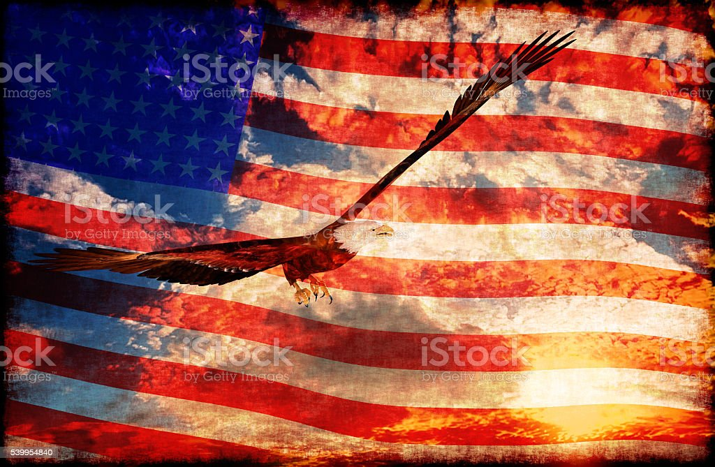 Eagle at sunset background with american flag - 3D rendering stock photo
