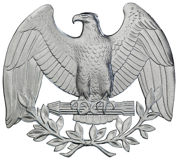 Eagle extracted from George Washington's silver quarter coin of 1995 stock photo