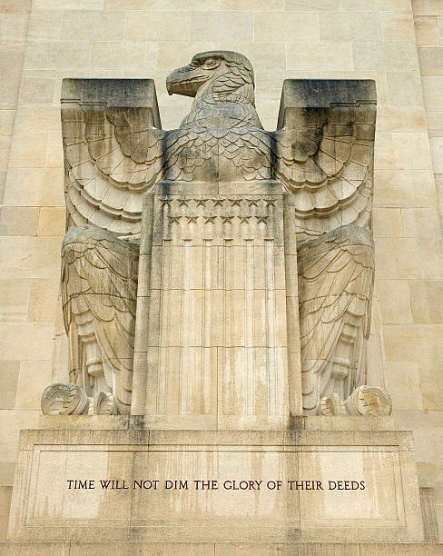 Eagle Featured on the Aisne-Marne American Memorial in France  aisne stock pictures, royalty-free photos & images