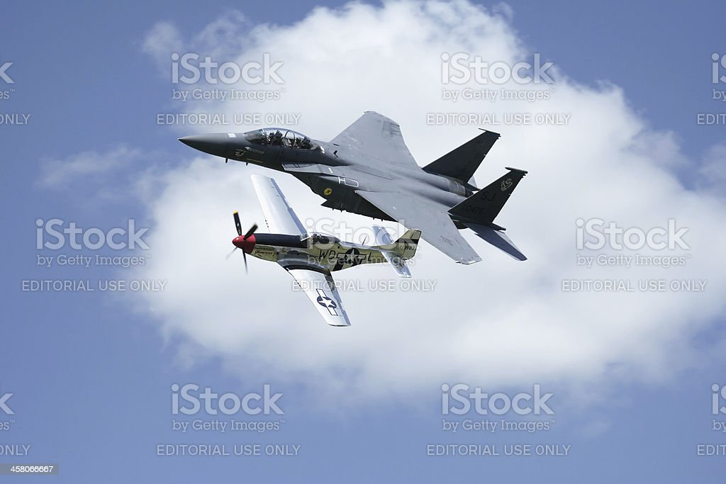 F-15 Eagle Fighter Jet and Vintage P-51 Mustang at Airshow royalty-free stock photo