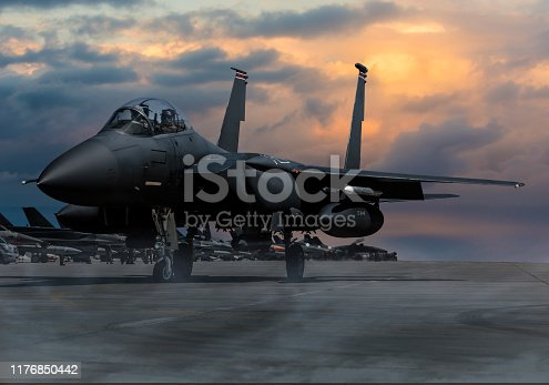 F-15 Eagle Fighter Plane at sunset