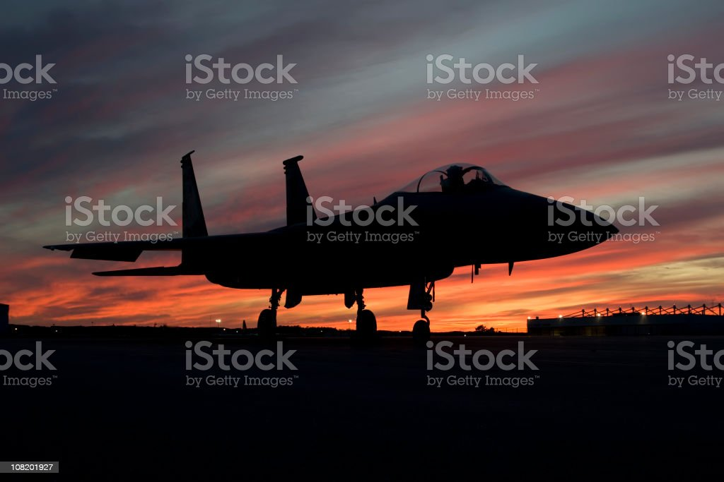 F-15 Eagle fighter plane silhouette royalty-free stock photo