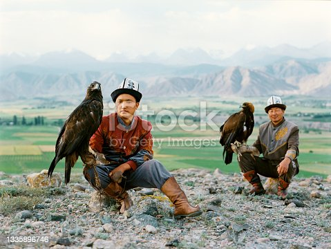 istock Eagle hunter on horse in steppe in Kyrgyzstan 1335896746
