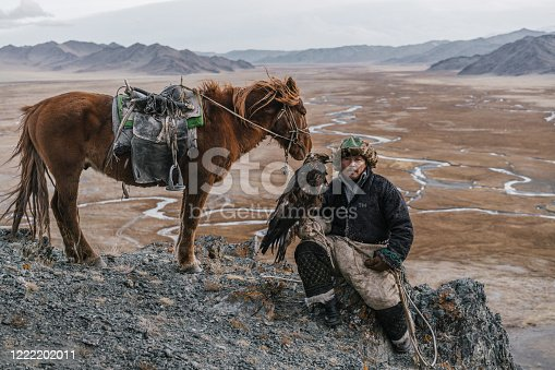 Eagle hunter on the background of river in Gobi desert in Mongolia