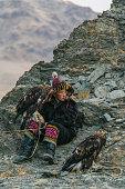 istock Eagle hunter resting on mountain in desert in Mongolia 1222199287