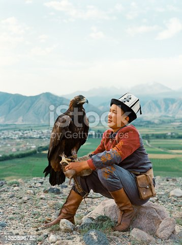 istock Eagle hunter sitting on the background of mountains  in Kyrgyzstan 1335896782