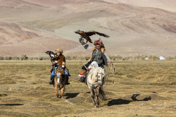 Eagle Hunter teaches her young daughter hunting with birds of prey to the hare. SAGSAY, MONGOLIA - SEP 28, 2017: Eagle Hunters traditional clothing, while hunting to the hare holding a golden eagles on his arms in desert mountain of Western Mongolia. independent mongolia stock pictures, royalty-free photos & images