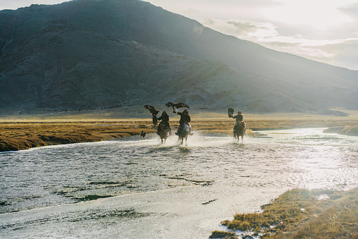 Eagle hunters riding through  the river in Mongolia