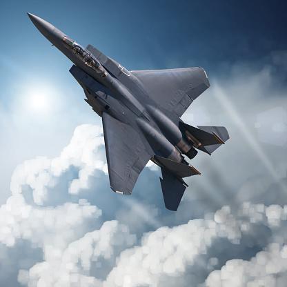 istock F-15 Eagle in high Attitude 628749038
