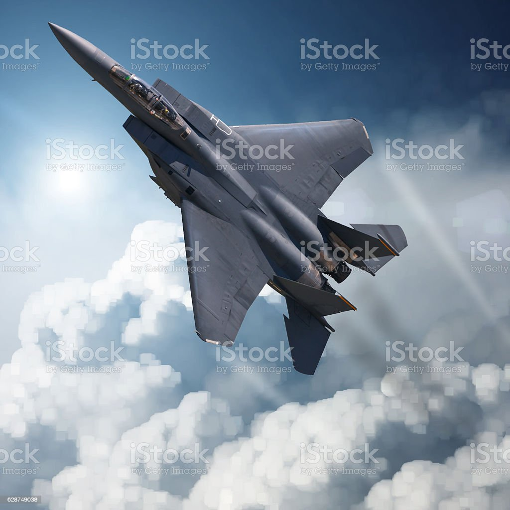 F-15 Eagle in high Attitude stock photo