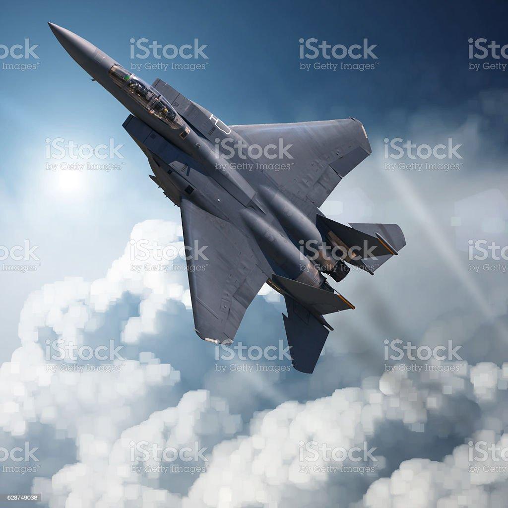 F-15 Eagle in high Attitude stock photo
