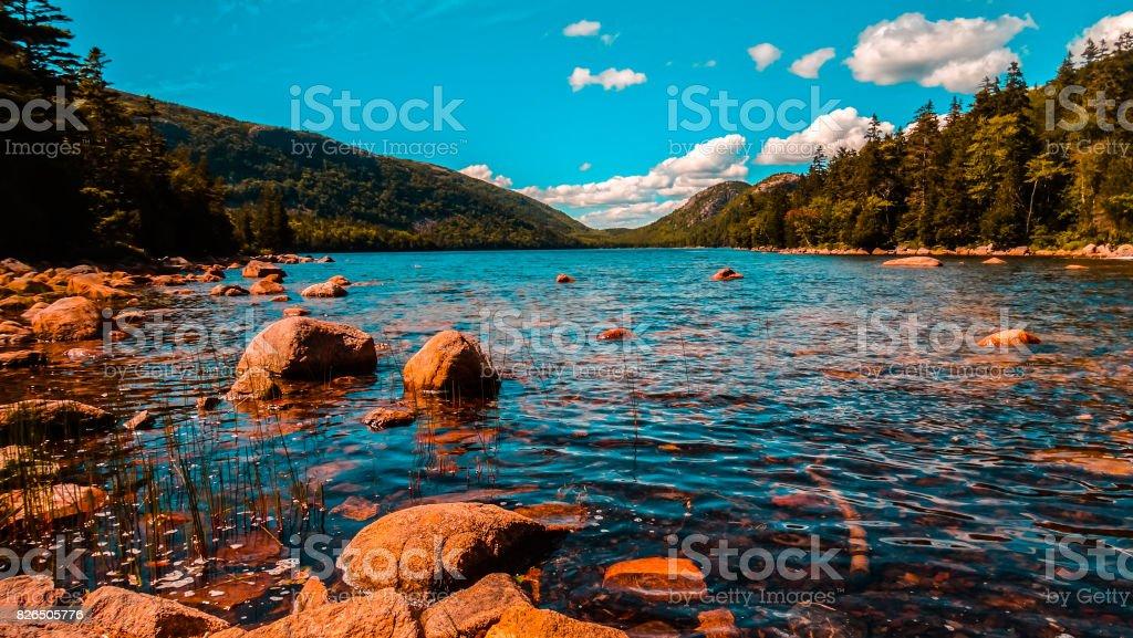 eagle lake acadia national park stock photo