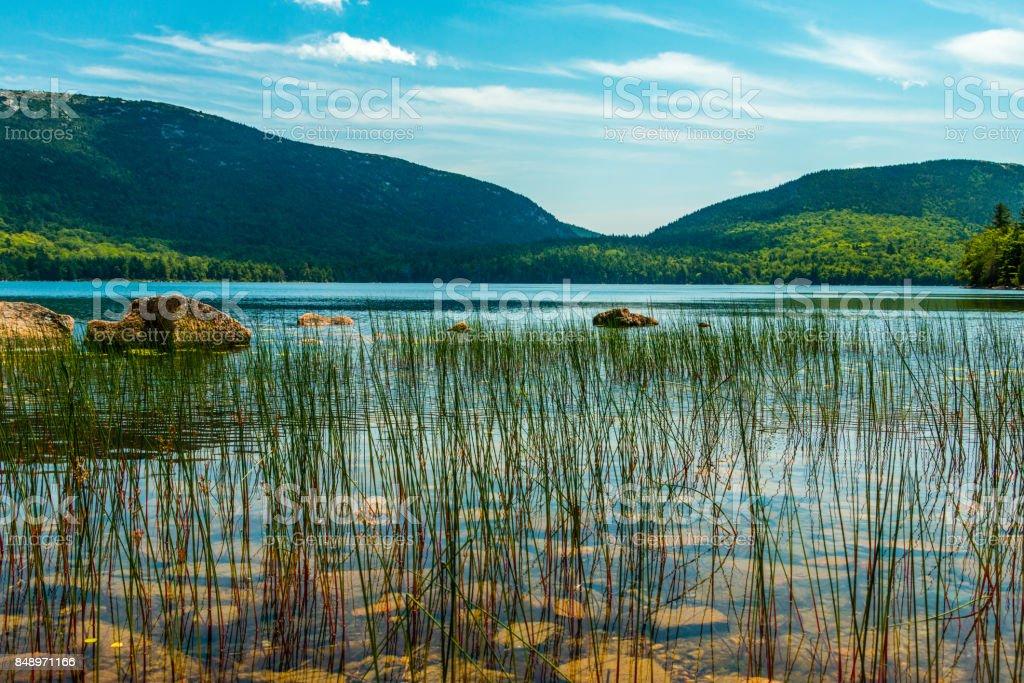Eagle lake at Acadia National Park stock photo