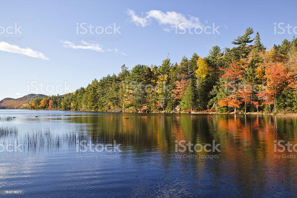 Eagle Lake Autumn morning, Acadia National Park stock photo