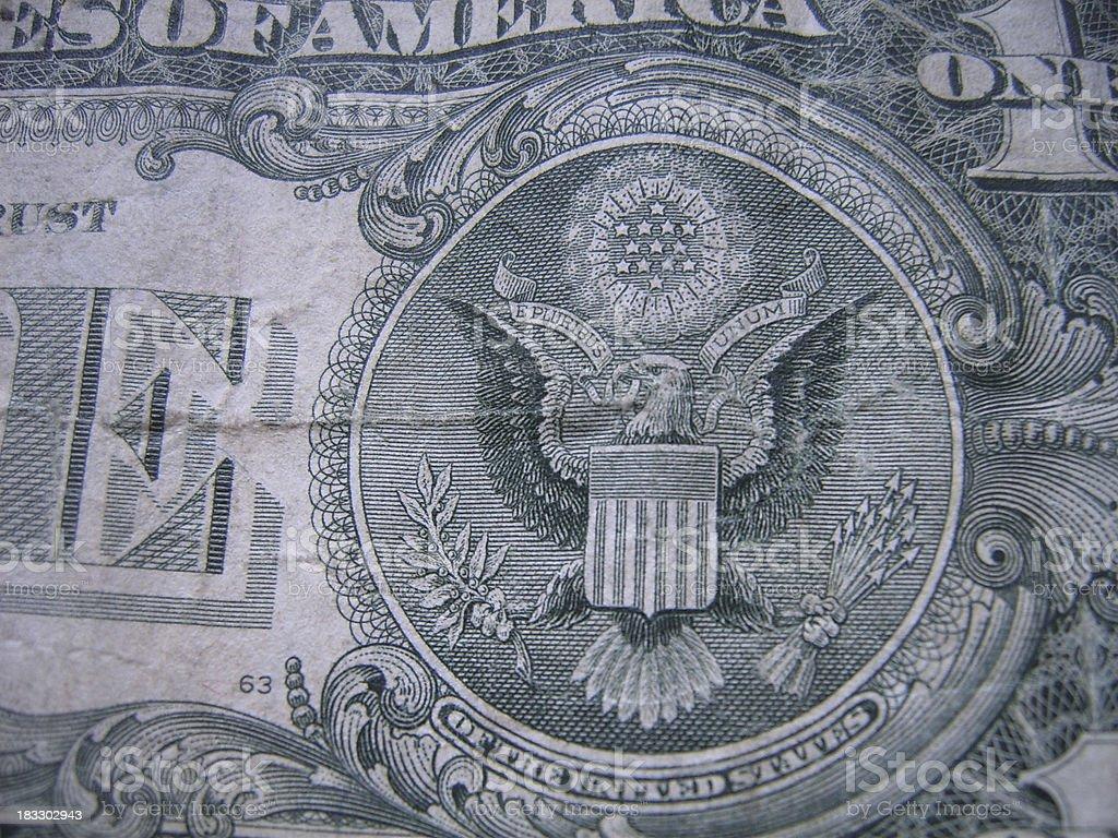 Eagle on a dollar stock photo