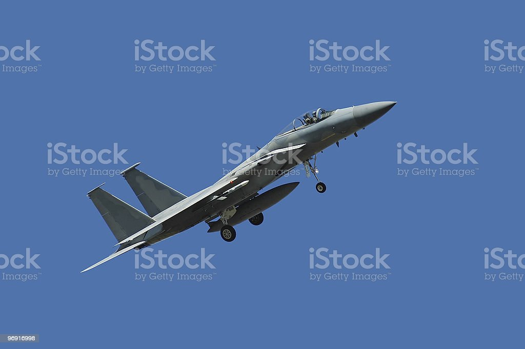F-15 Eagle on final approach royalty-free stock photo