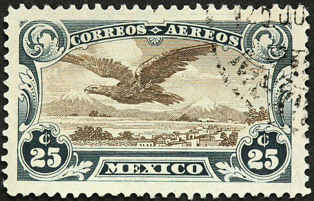 eagle on Mexican postage stamp stock photo