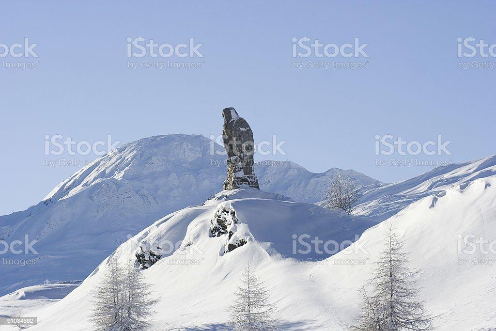 Eagle Rock Against a Blue Sky, Simplon Pass stock photo