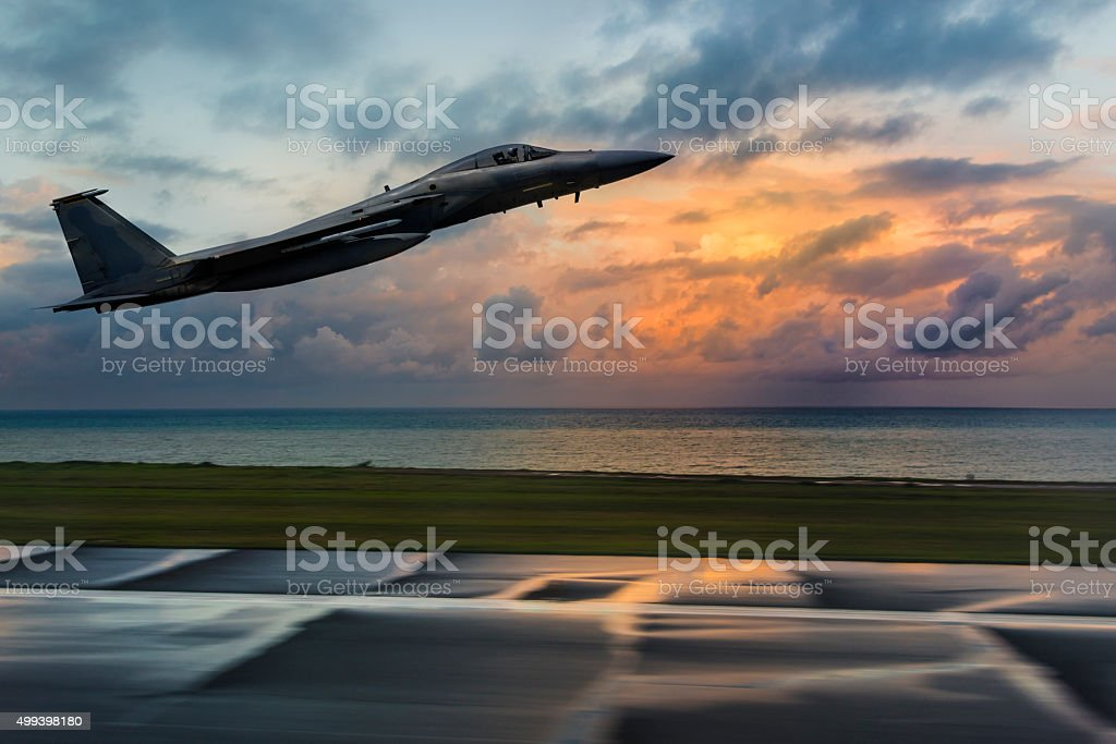 F-15 Eagle taking off stock photo