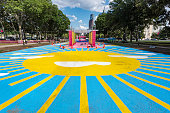 Philadelphia, PA USA - July 18, 2018: A four-week summer event at Eakins Oval in Philadelphia, Pennsylvania, people will enjoy the food offerings and entertainment.