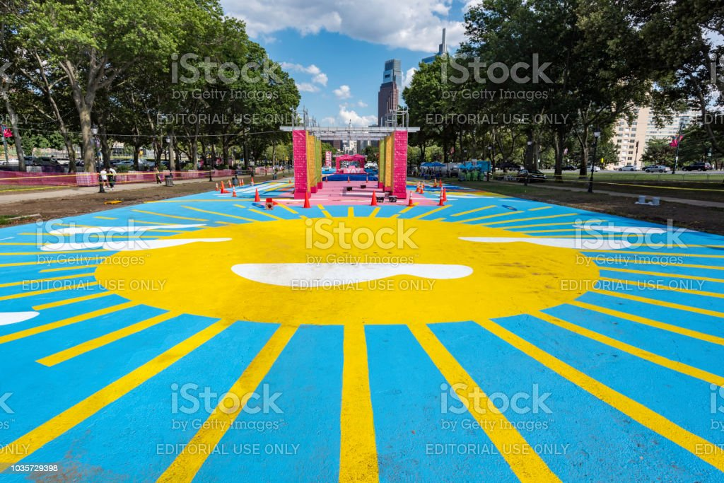 Eakins Oval in summer stock photo