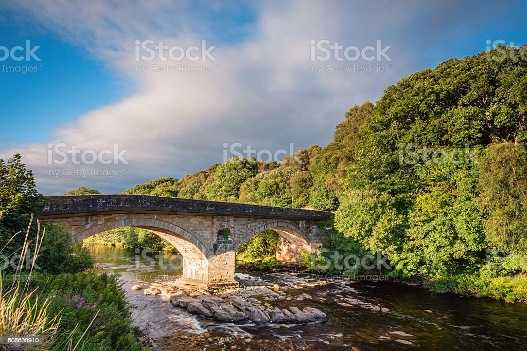 Eals Bridge over River South Tyne stock photo