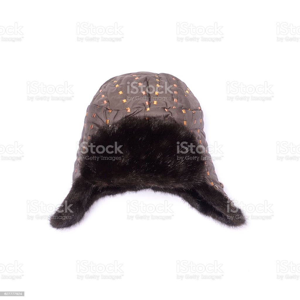 ear flaps hat isolated on white stock photo
