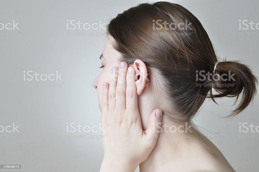 Ear pain stock photo